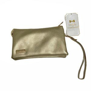 NWT Simply Southern Gold Multi-Compartment Clutch
